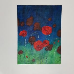 Acrylic Painting Abstract Poppies 16x12